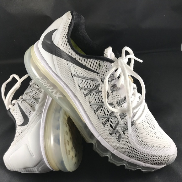 Excellent NIKE AIR MAX 2015 White Black Ice 9.5 US